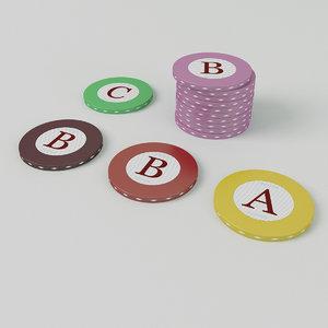 3D model casino roulette chips