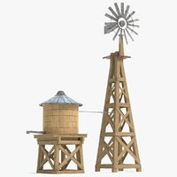 farm windmill water tank 3D model