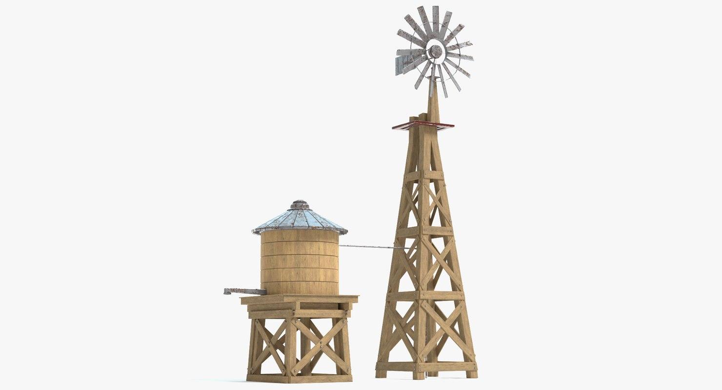 farm windmill water tank 3D model