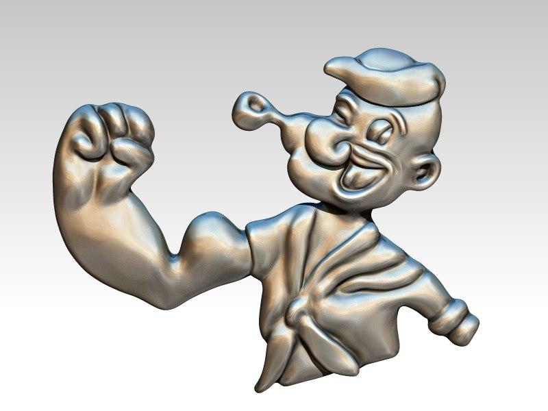 3D cartoon popeye pendant jewelry model