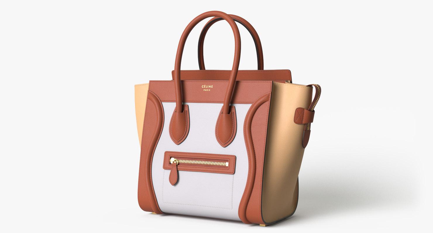 celine luggage handbag colored 3D model