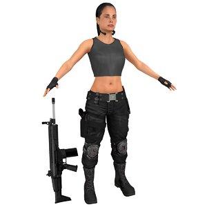 3D female mercenary knife gun model