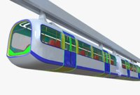 3D monorail train model