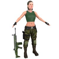 3D mercenary female woman