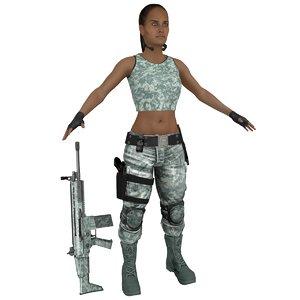 female mercenary 3D model