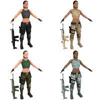 pack female mercenary knife 3D