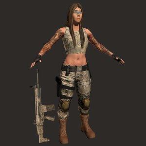 female knife gun model