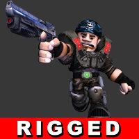 3D model soldier shooter mercenary