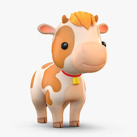 3D cute cartoon cow