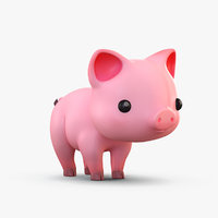 3D cute cartoon pig model