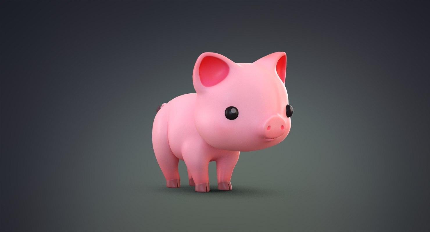 3D cute cartoon pig model
