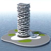 3D sci-fi futuristic building model