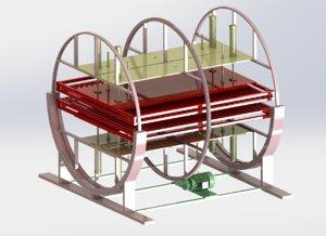 3D double - station rotating model