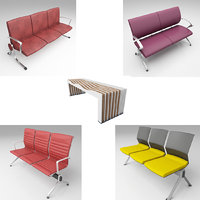modern airport seating 3D model