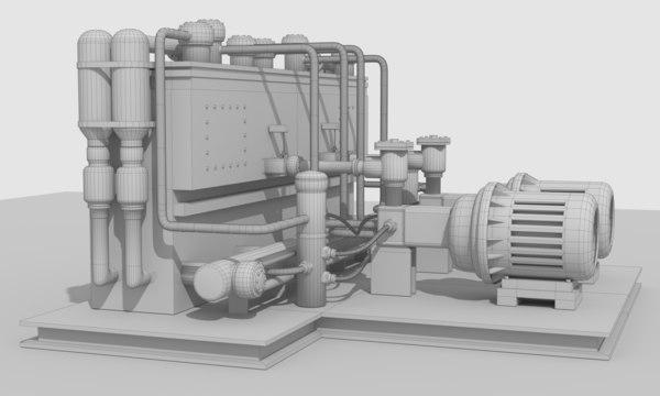 3D industrial hydraulic machine model