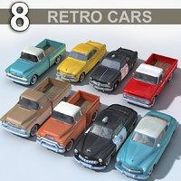 3D 8 retro cars