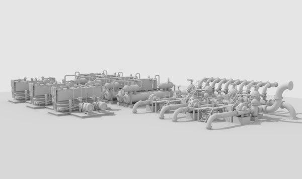 industrial hydraulic 3D model