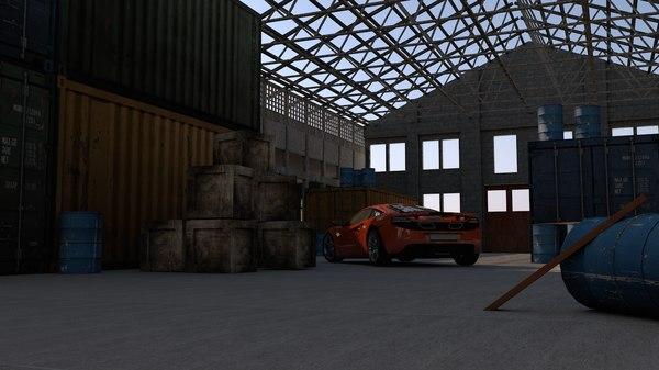 3D abandoned warehouse
