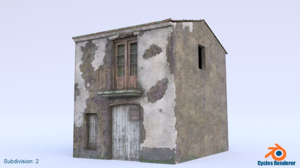 post-apocalyptic abandoned house old 3D model