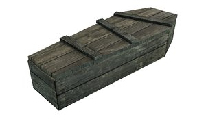 rustic old coffin materials model