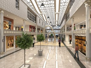 luxury mall interior scene 3D model