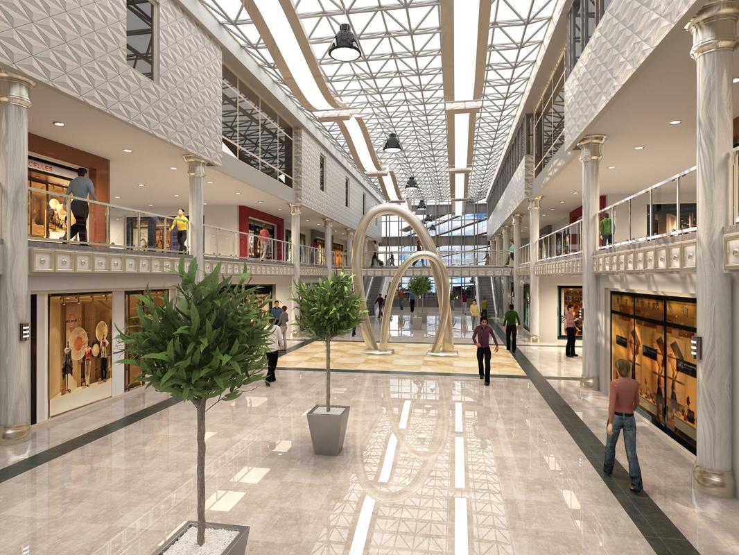 luxury mall interior scene 3D model