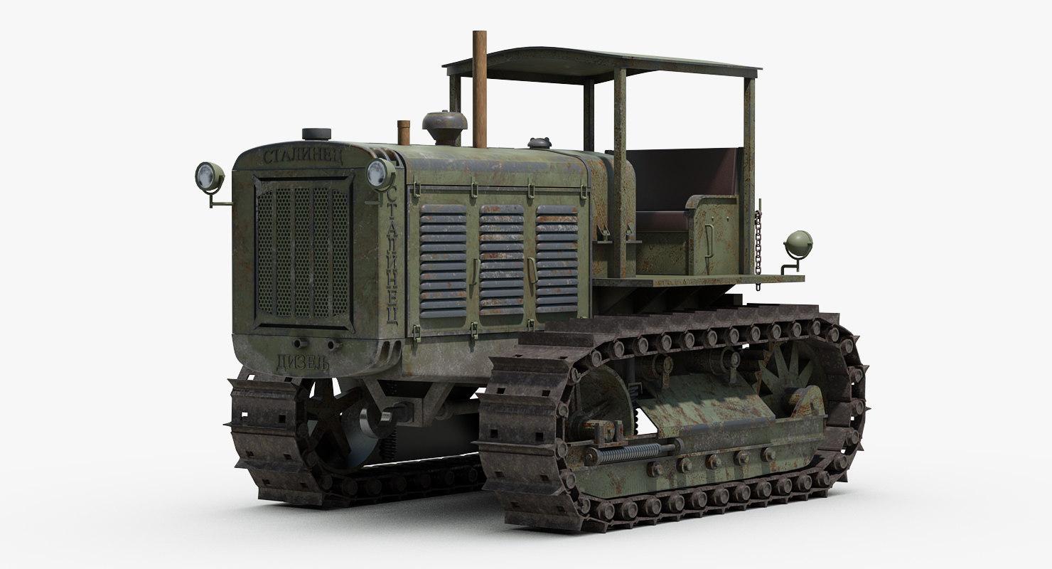 ww2 chtz stalinets artillery 3D model