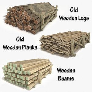 3D materials old wooden logs