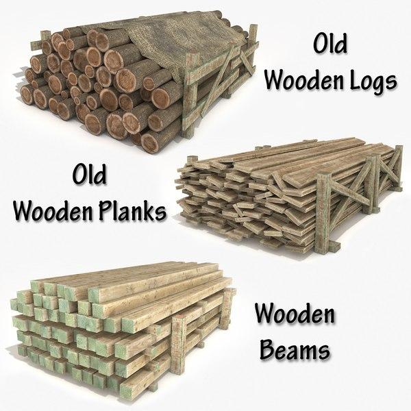 3D materials old wooden logs