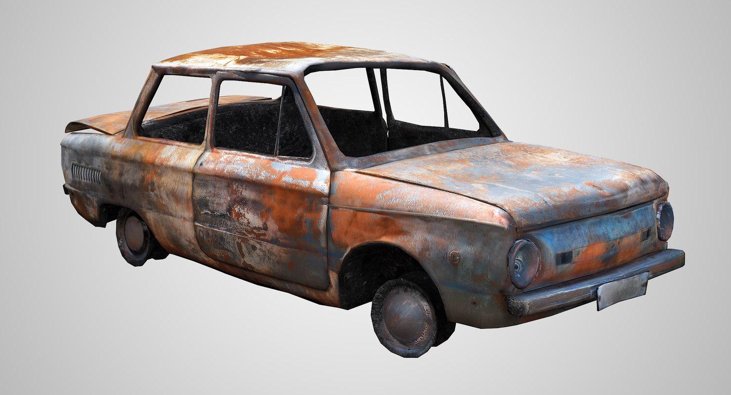 burnt ussr car zaz model