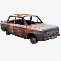 burnt ussr car zaz model