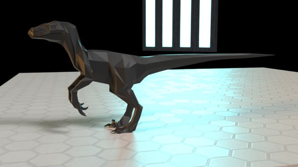 low-poly velociraptor dinosaur 3D model
