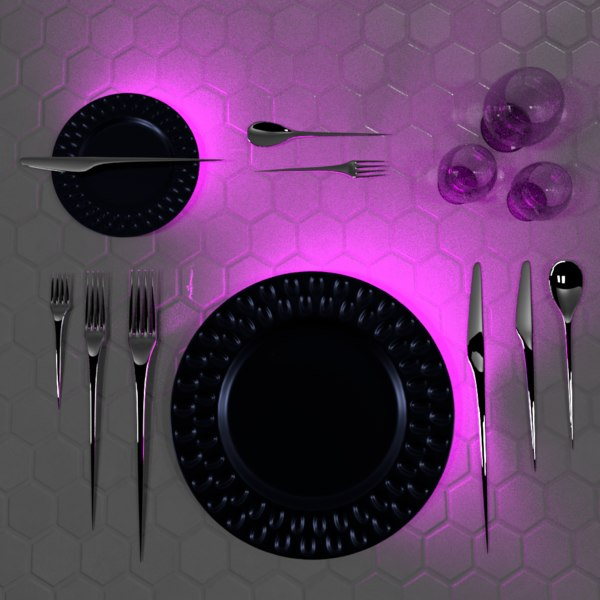 3D dinner setting plate futuristic model