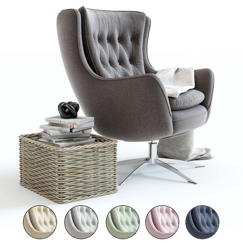 pottery barn wells armchair 3D model