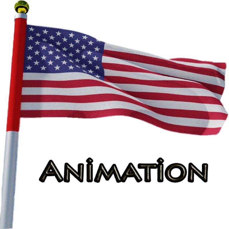 3D flag animation model
