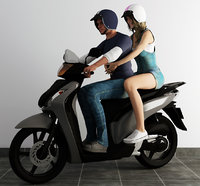 couple ride scooter 3D model