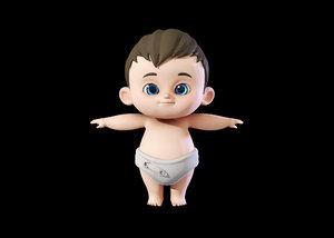 3D cute baby boy model