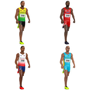 3D model pack rigged sprinter athlete