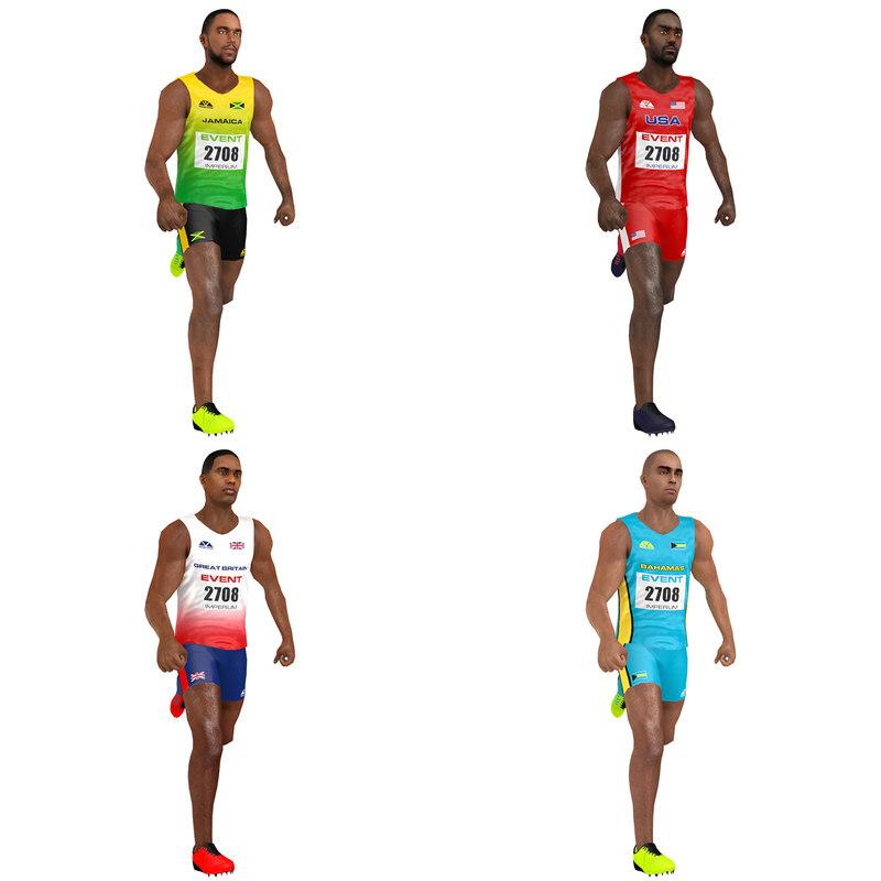 3D model pack rigged sprinter athlete