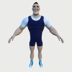 3D model powerlifter low-poly