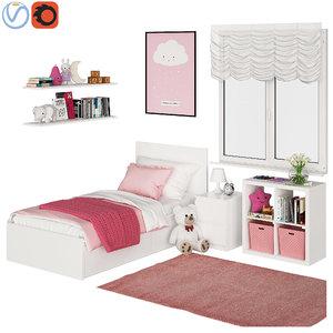 3D universal children room pink model
