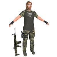 3D mercenary soldier model