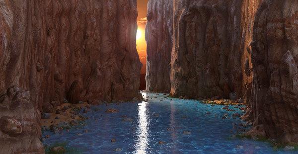 3D fantasy river rock