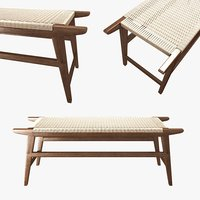 bench century solid walnut 3D model