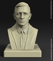 daniel craig james bond bust statue for 3d printing 3D print model