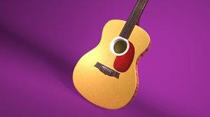 acoustic guitar modeled 3D model