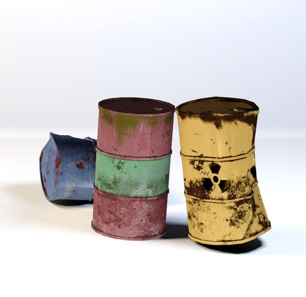 3D steel old barrels