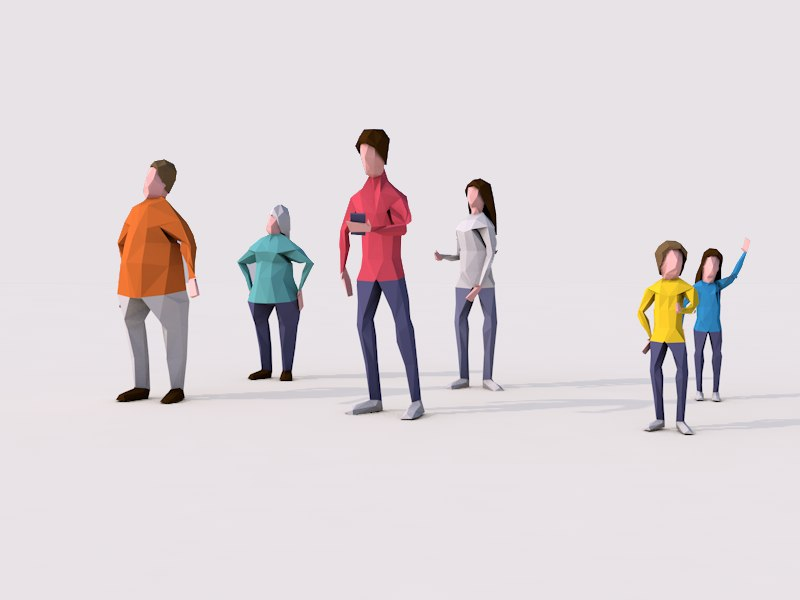 Cartoon Lowpoly People Characters Rigged