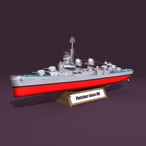 3D fletcher class destroyer model