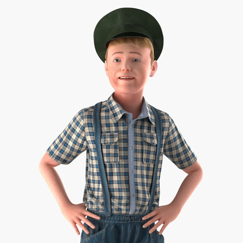 caucasian boy 3d model rigged